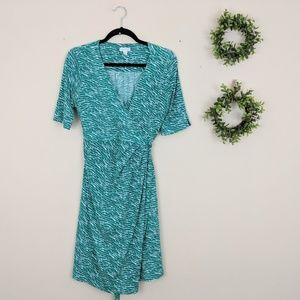A Pea in the Pod | Green White Faux Wrap Dress S